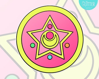 Crystal Star Compact, Sailor Moon Style Holographic Sticker