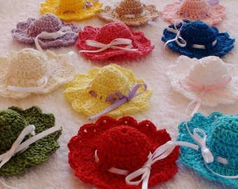 Crochet mini hat applique, Baby shower favors , Mini hats, Baby shower decorations,Wedding decorations,Wedding favors, set of 12