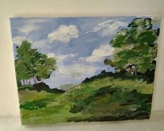 Green Landscape Scene - Original Acrylic Painting