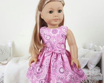18 inch doll pink bandanna dress