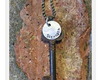 Antique Inspiring Skeleton Key Necklace - STRENGTH