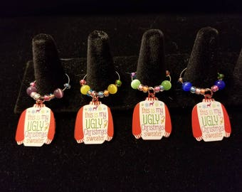 Ugly Sweater Wine Glass Charm Marker