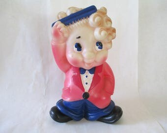 Man Cave - Retro Vintage Squeeze Toy - Collectible - Rubber Boy Combing Hair - Lg 8 1/2 by about 5 1/2