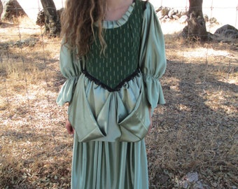 Period Dress- Handmade for Theatre - Reenactments - Halloween - Other. Green Satin - A Theatre Costume that has been Used on Stage-Small