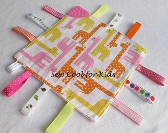 Cute Teething ribbon comforter
