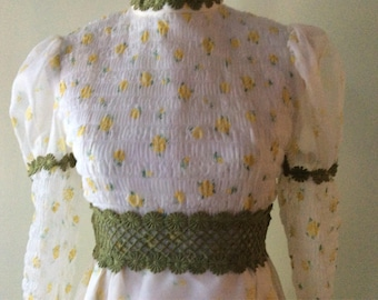 Vintage Boho Long Gown Prom Dress Maxi Dress Bridesmaid Dress Yellow Floral Southern Belle Dress