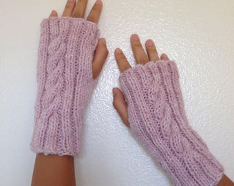 Fingerless Gloves, Pink Gloves, Wrist Warmers, Knit Gloves, Pink Heather, Gift for Her, Women Gift, Gift for Teen Girls, Ready To Ship