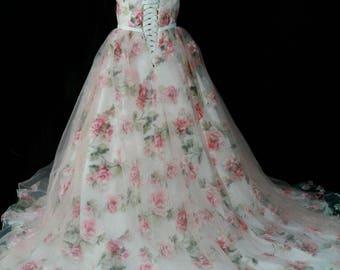 Beautiful blush pink floral wedding dress Made to order