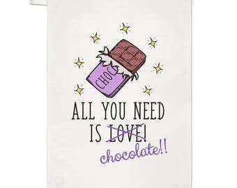 All You Need Is Love Chocolate Tea Towel Dish Cloth