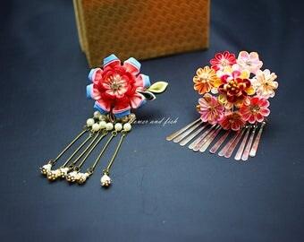 kimono accessories kanzashi-Wedding- Flower-bridal Hair Fork-flower pin, Set Of Two-B55