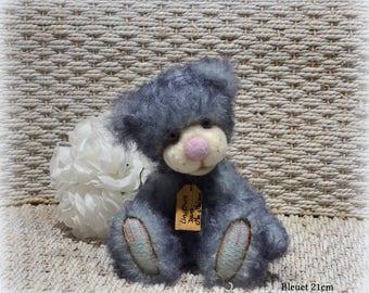 VENDU *** !! Bleuet ours d'artiste de collection 21cm ours décoration mohair laine feutrée OOAK peluche unique