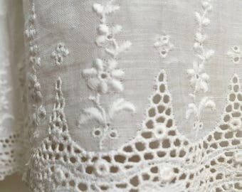 Antique Victorian White Cotton Petticoat with Ruffle and Eyelet Lace Trim/Early 1900's