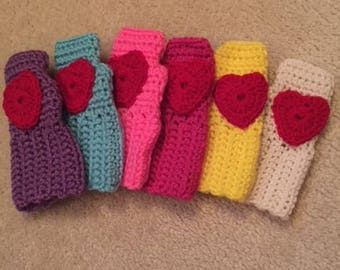 Hand Crochet Childrens Fingerless Gloves with Hearts-BRIGHT PINK