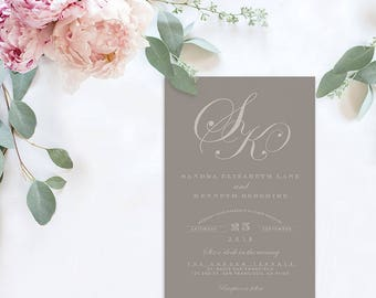 Monogram Wedding Invitations / Grey Wedding Invitations