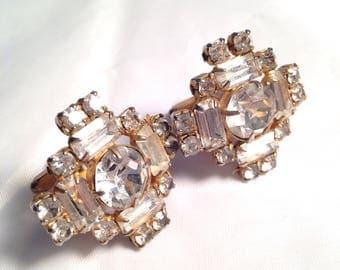 On Sale Vintage Cuff Links Art Deco Rhinestone Great Gatsbys Formal Cufflinks