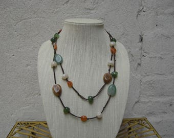 Very Long Pretty Polished Natural Stone Necklace on Black String