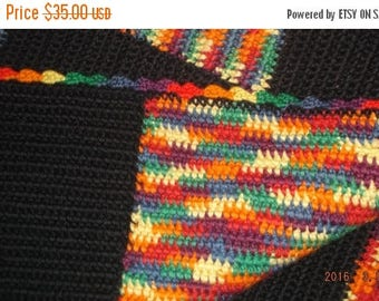 ON SALE Vintage Hand crocheted colorful charm patchwork blanket/lap blanket or throw