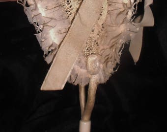 Antique 1910 French doll bonnet hat~straw velvet & organdy with silk flowers~