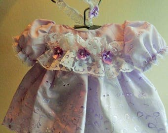 "Reborn  Baby dress and  hairband in  lilac broderie anglais lace for 16"" reborn dolls clothes for 14-16"" doll clothes baby vintage doll"