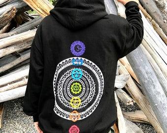 Sudadera con capucha de Chakra, yoga, om, aum, flor de la vida, mandala, goa, hippie, gitana