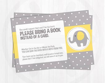 Book Request Card. Yellow Elephant Books for Baby Invitation Insert. Baby Library. Printable Yellow and Grey Baby Shower Bring a Book Cards.