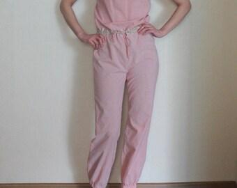 Womens Summer Jumpsuit Evening Romper Pink Cotton Overall Bodysuit   Elastic Waist Spaghetti Straps Open Back