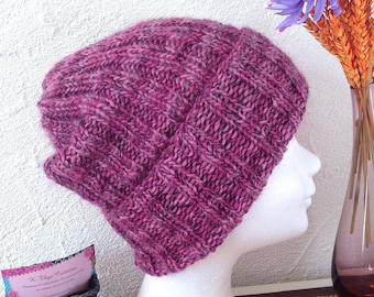 Slouchy Beanie knit with large cuffs for women or teen very warm and soft pink-fuchsia