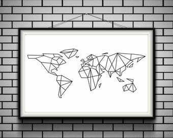 Wanderlust Geometric World Map Print on paper or rolled canvas up to A0 size, Minimalist Art, Science Art, Kids Room Decor, Wall Art, Gift