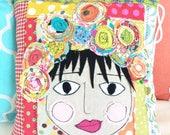 Boho Patchwork Pillow Shabby Chic Decor Home Decor Throw Pillow Art Bohemian Decor Unique Gift Idea Vibrant Color Appliqué Face