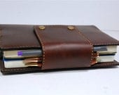 Handmade Leather cover for two Leuchtturm 1917 notebooks with pen loops , chestnut color, vegetable tanned leather