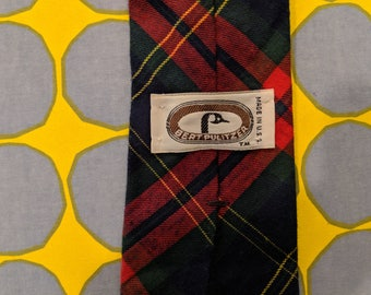 1970s // BERT TIE // Vintage Bert Pulitzer Made in USA Plaid Tie