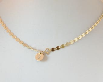 Gold Coin Necklace,Gold Choker Necklace,Gold Choker,Gold Filled Necklace,Gold Filled Jewelry, Initial Necklace,Personalized,Customized