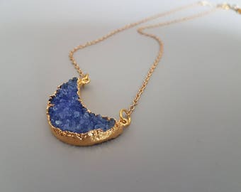 Blue Druzy Necklace, Druzy Moon Jewelry,  Gold and BkuAgate Necklace, Long Pendant Necklace, Moon Necklace, Gift for Her, Stocking Stuffer