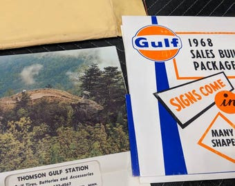 Original 1968 Gulf Oil Company Sales Calendar Sample Chart Poster - Vintage Gas Station