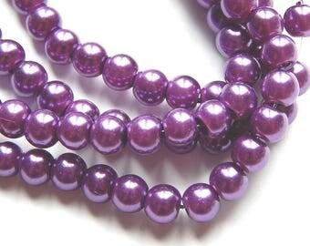 100 6mm purple glass pearls