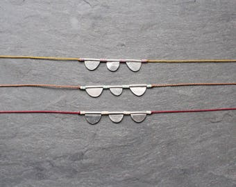 sterling silver scallops on silk necklace / custom made, choose a color / hand-cut, one of a kind / tiny artifact collection