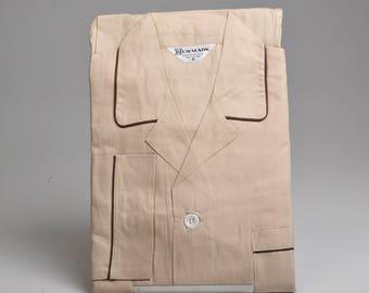 XS Deadstock 1950s Mens Pajamas Sanforized Cotton PJs Tan Loungewear Set Vintage 50s Rockabilly Sleepwear