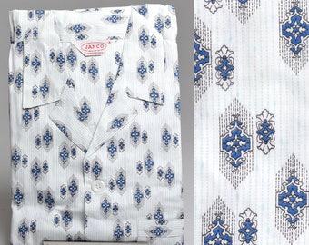 XS Deadstock 1950s Mens Pajamas Sanforized Cotton Blue Stripe PJs Vintage 50s Lounge Wear Loungewear Pyjamas Rockabilly Set