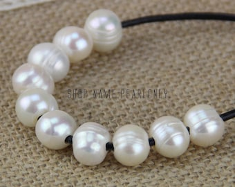 2mm large hole pearls bead,white large hole freshwater pearls,10mm potato near round big hole pearls wholesale,leather jewelry material,5pcs