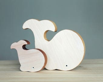 Wooden whales, baby's room decoration, eco-friendly toy, wooden toy, white