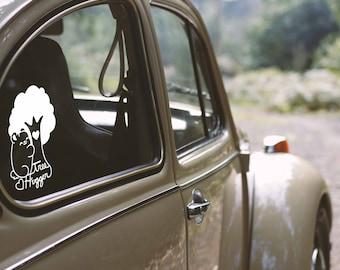 Tree Hugger Kawaii Bear Decal ( Bumper Sticker Nature Hippie Cute )