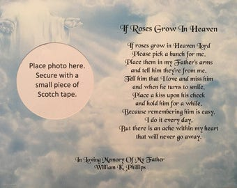 Memory of Father, Sympathy Gifts, Memorial Day Gifts, Condolence Gifts, Roses Grow In Heaven, In Memory Gift, Religious Gift, Loss of Dad