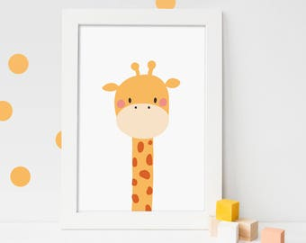 Giraffe Nursery Print Kids Wall Art Printable Giraffe art Giraffe print Jungle Nursery Art Zoo animals Animal Nursery Print PRINTABLE