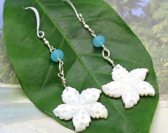 Mother of Pearl Starfish Earrings, Starfish Earrings, Long Dangle Earrings, Beach Wedding Jewelry, Mother of Pearl Earrings, Beach Jewelry