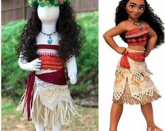 Moana Costume dress Moana Outfit kids Moana inspired dress infante Moana dress party Disney baby Moana Hula skirt Princess Moana dress Moana