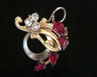 vintage goldtone brooch with rhinestones and ruby stones