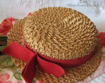 "Vintage Straw Hat ""Meet me in St. Louis""  Dudleigh Paris New York  Boater Straw Hat Classic Topper Pillbox Tailored Costume  WhenRosesBloom"