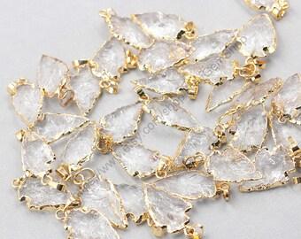 Clear Quartz ArrowHead Pendants -- Wholesale  gemstone arrow head charm finding accessory wedding party jewelry CQA-021