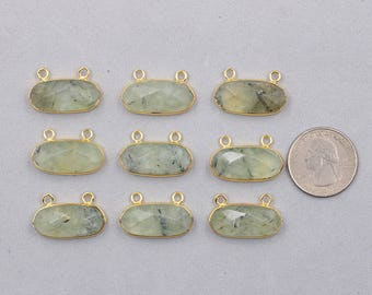 Faceted Prehnite Double Bails Pendants -- With Electroplated Gold Edge Charms Wholesale Supplies CQA-020