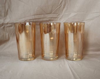 "Set of Three (3) ~ Carnival Glass/Iridescent Peach/Amber/Marigold/Luster Glasses ~ Tumblers ~ 5"" Tall ~ Holds 10 ozs. ~ Honeycomb ~ Hexagon"